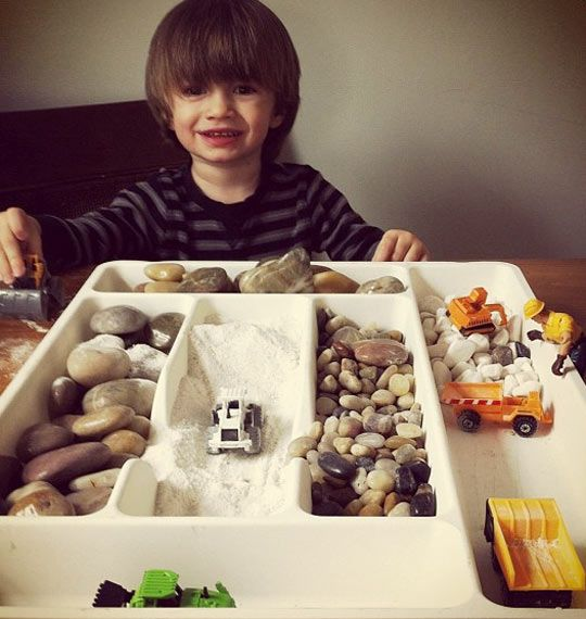 Quick Tip: Use Drawer Organizers for Sensory Play | Apartment Therapy  Awesome, I have one that I now need to dig out of a donation pile.