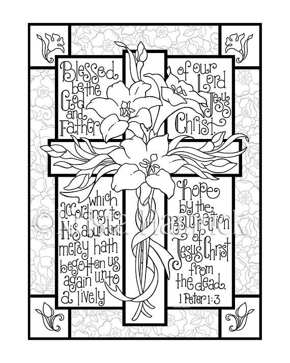 Easter Lily Cross Coloring Page In Two Sizes 8 5x11 Bible Etsy Cross Coloring Page Easter Coloring Pages Bible Coloring Pages