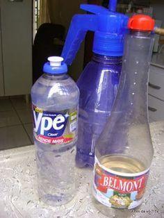 MULTIUSO CASEIRO - 1 frasco do detergente e 1/2 frasco do vinagre em um borrifador e pronto. Limpa tudo,fogão, geladeira, azuleijos, pias e vaso sanitario poia o vinagre é um otimo desinfetante.: