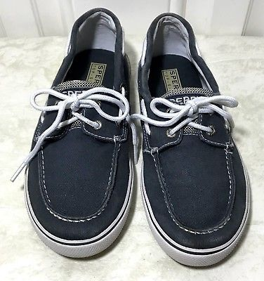 Sperry Top Sider Shoes 2.5 Halyard Youth Navy Saltwash Canvas Boat Shoe