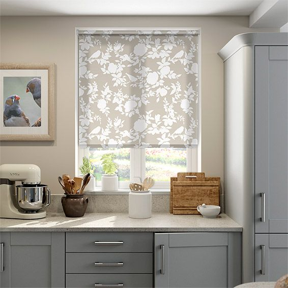 Happy Birds Warm Beige Roller Blind from Blinds 2go