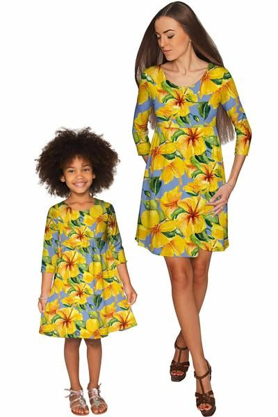 After the Rain Gloria Empire Waist Floral Mommy and Me Dress - Pineapple - Mommy and Me Clothing