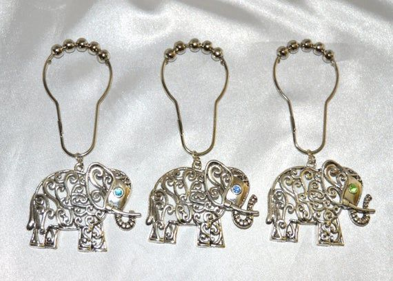 Elephant Shower Curtain Hooks Set Of 12 Antique Silver Or Bronze