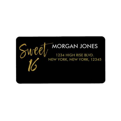 sweet 16 gold foil birthday address label gold birthday party