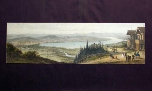 1870 c  Scarce Panorama of Zürich Zurich in lithography, additional hand colour