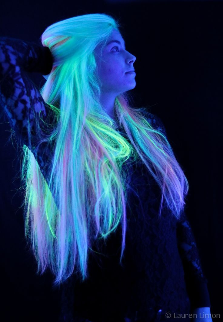 blacklight neon hair done with the new kenra neons!! photo by lauren limon! rainbow tropical day-glo hair. not quite glow in the dark, but UV reactive...