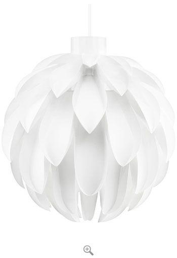 Norm 12 - X Large. White sculptural light. Max 60 watt (40 watt ideal)