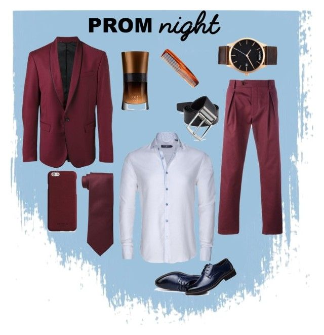 """Prom Maroon Men Fashion"" by saffaatun on Polyvore featuring Diesel, Al Duca d'Aosta, Stone Rose, Cufflinks, Inc., Giorgio Armani, Kent, MVMT, Shinola, men's fashion and menswear"