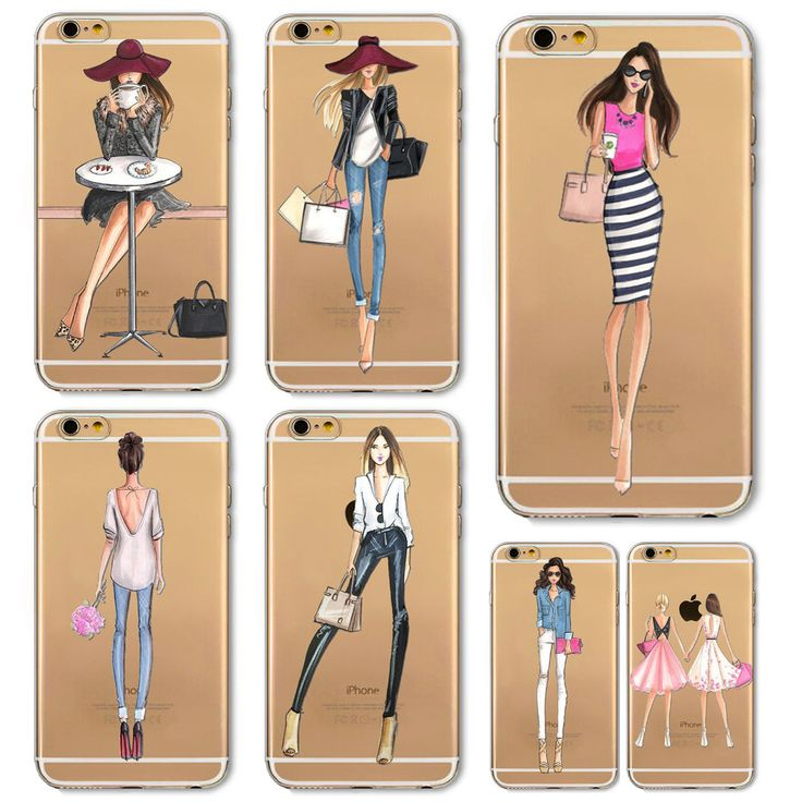 Girl Dress Shopping Fashion Phone Bag For iPhone 4 4S 5 SE 5S 6 6S 6(s)Plus Transparent Soft TPU Modern Sexy Girls Case Cover *** Click image for more details.