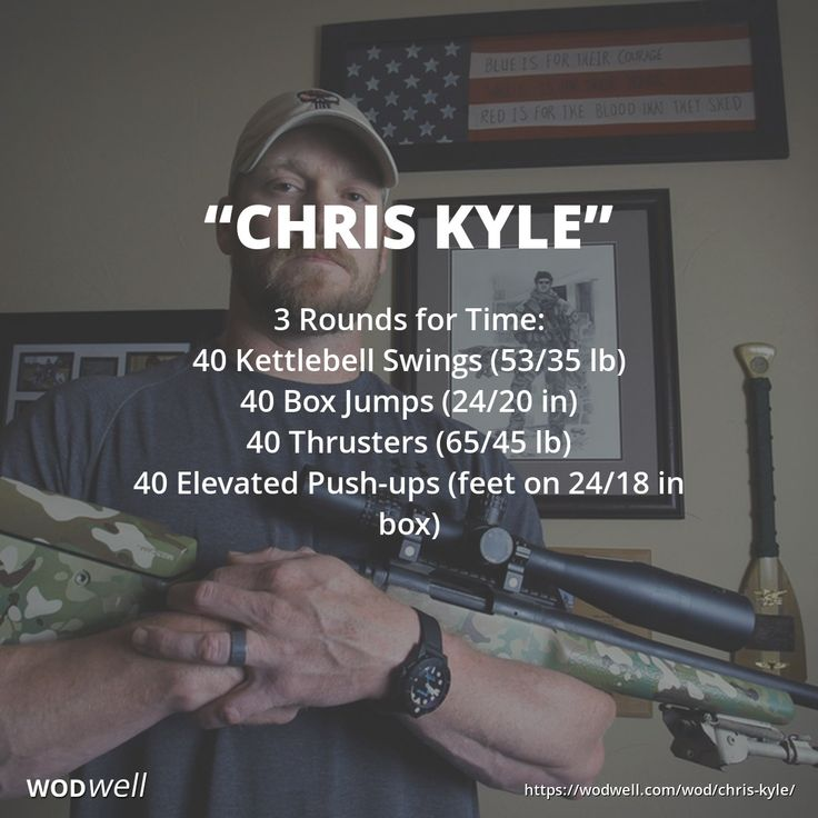 """""""Chris Kyle"""" WOD - 3 Rounds for Time: 40 Kettlebell Swings (53/35 lb); 40 Box Jumps (24/20 in); 40 Thrusters (65/45 lb); 40 Elevated Push-ups (feet on 24/18 in box)"""
