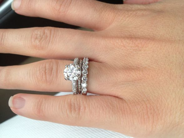 show me your solitaire rings with an eternity diamond wedding band please weddingbee - Solitaire Engagement Ring With Diamond Wedding Band