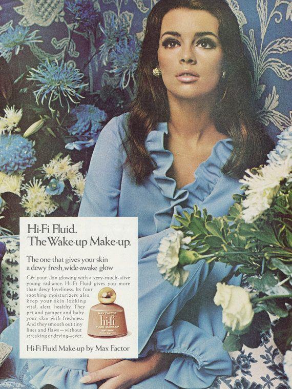1967 Max Factor Make-up Ad Vintage Cosmetics Advertisement Beautiful Mod Woman Photo Retro Blue Bathroom / Vanity / Salon Art