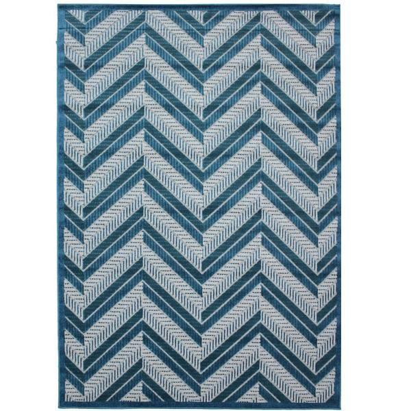 Cairo Indoor / Outdoor Chevron Blue & Turquoise Stripe Modern Rug