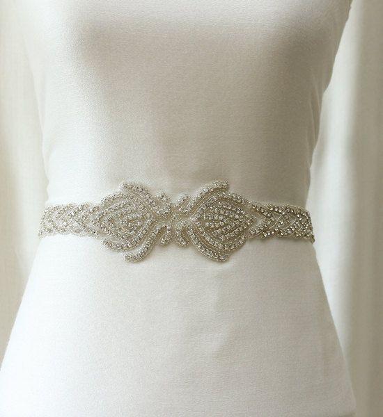 Wedding sash beaded bridal sash rhinestone sash belt by LuxeCloset, $130.00