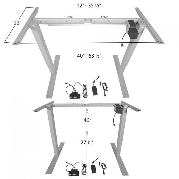 "27"" - 46"" Adjustable Electric Standing Desk Frame Tall"