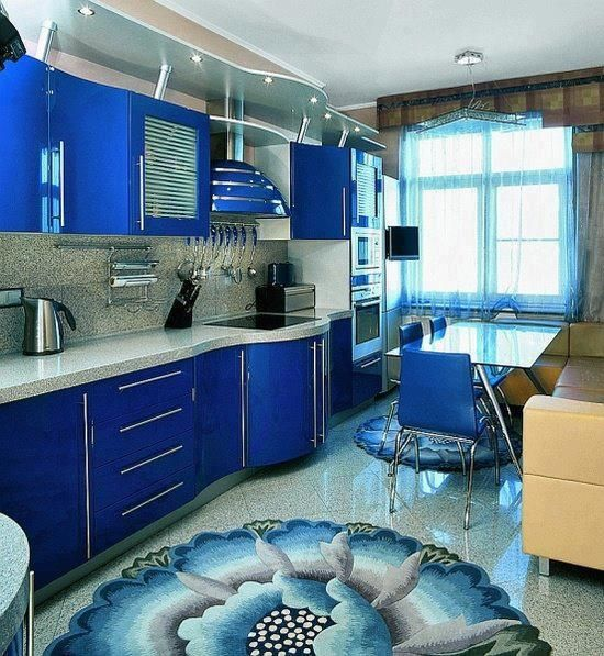 Royal Blue Kitchen-check The Area Rug