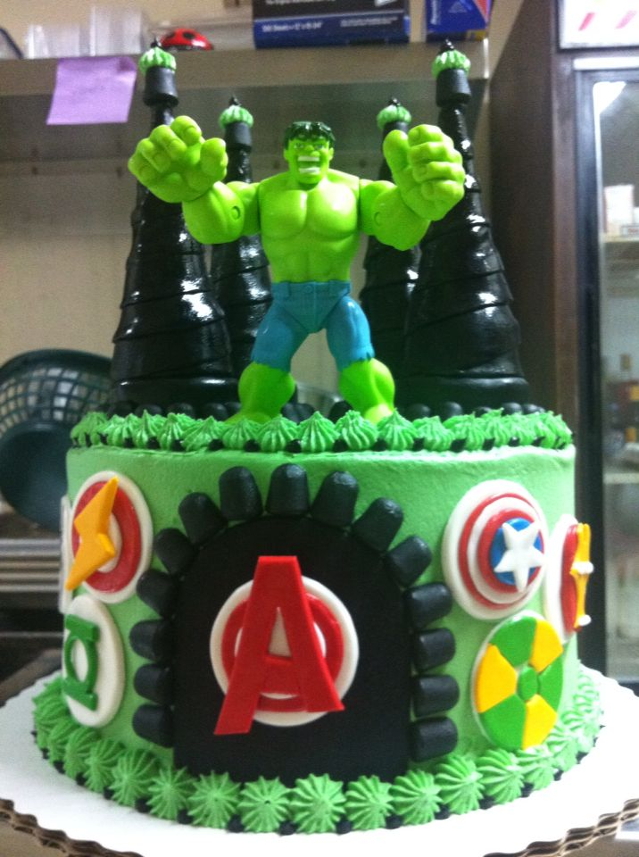 Incredible Hulk cake. With avengers logos.
