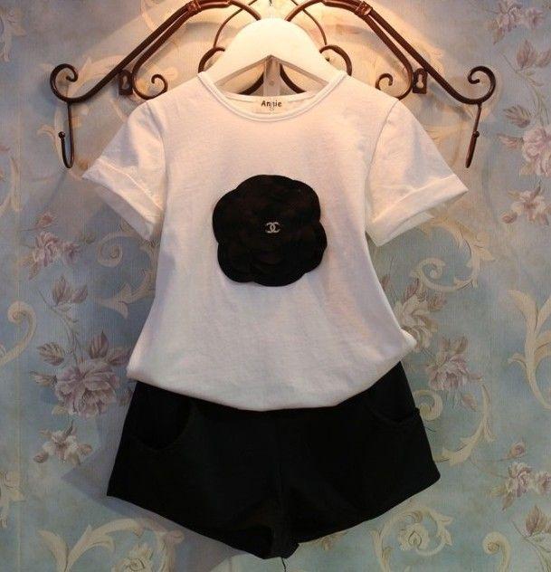 Pas cher Été costume filles bébé mode tournesol t   shirt à manches courtes + short deux pièces ensemble gros, Acheter  Tenues de qualité directement des fournisseurs de Chine:                 &