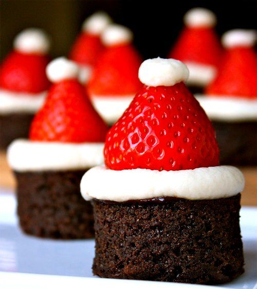 Christmas Treat, or just whenever, just won't make it look like a santa hate. can't go wrong with brownie, fudge, marsh, and strawberries