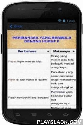 """PERIBAHASA MELAYU LENGKAP  Android App - playslack.com , Ingin mendapatkan koleksi Peribahasa Melayu yang lengkap? Disini jawapannya. Kami menyediakan hampir 700 koleksi peribahasa melayu untuk anda. Semoga ia bermanfaat, insyaallah.KELEBIHAN - KELEBIHAN APLIKASI INI:1) Anda tidak perlukan sambungan internet untuk melihat / membaca / menghafal koleksi peribahasa ini.2) Anda boleh mencari peribahasa yang anda ingini dengan fungsi """"CARI LIRIK""""3) Anda boleh simpan nota dengan mudah4) Anda boleh…"""