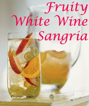 Fruity White Wine Sangria. Quick before summer ends and it's time for mulled sangria.  Pour wine into a punch bowl or pitcher. Squeeze all citrus into wine. Add the fruit you just squeezed minus the seeds. Add sugar and chill over night. Before serving add soda.  If you want to serve immediately use chilled wine and lots of ice.