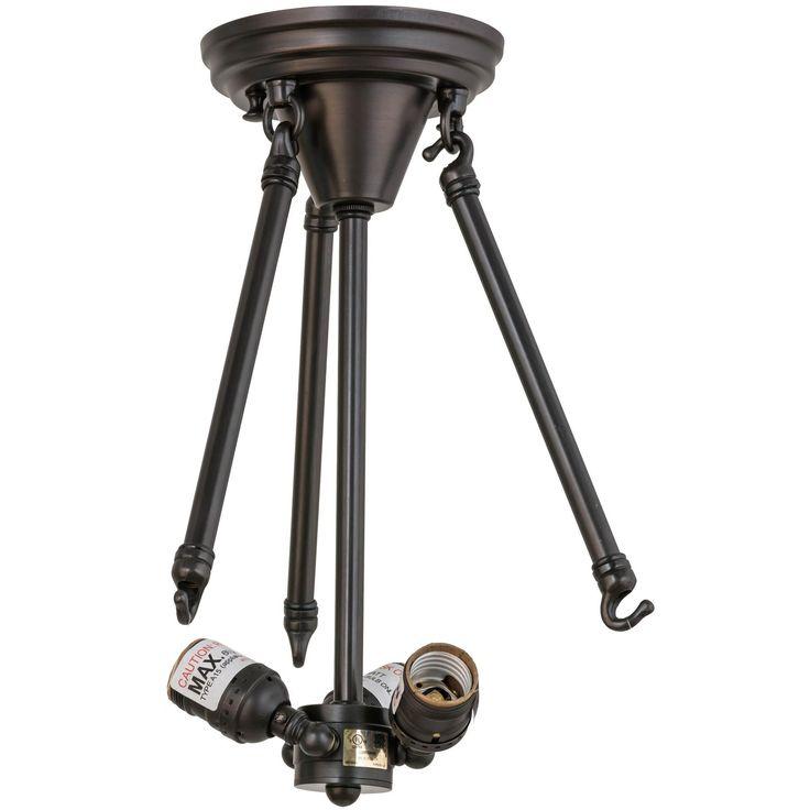 11 Inch W Craftsman Brown On Brass 3 Lt Semi-flushmount Hardware - Custom Made