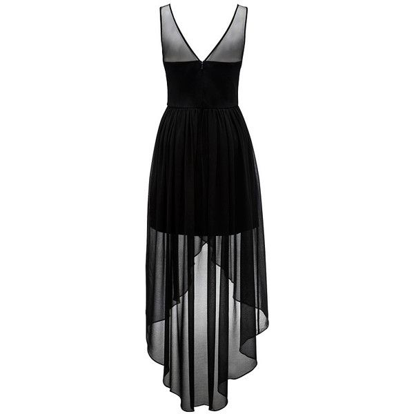 Forever New Lauren embellished high-low dress ($76) ❤ liked on Polyvore featuring dresses, vestidos, low v neck dress, sheer cocktail dress, sleeveless cocktail dress, high low dresses and hi low cocktail dress