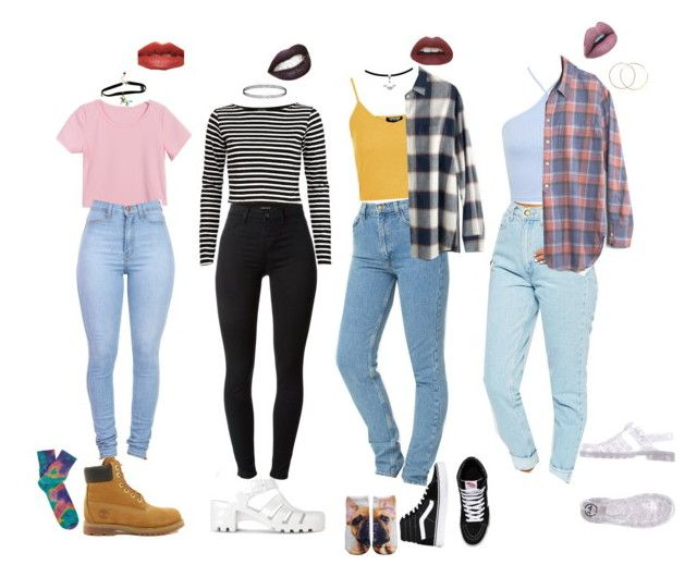 """""""90s School Outfits"""" by stellaluna899 ❤ liked on Polyvore featuring Miss Selfridge, American Apparel, JuJu, Topshop, Madewell, Vans, River Island, J Brand, Timberland and Anonymous Ism"""