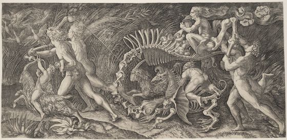 Agostino Veneziano, After Raphael, Witch Riding on a Skeleton, 16th century, Harvard Art Museums/Fogg Museum.