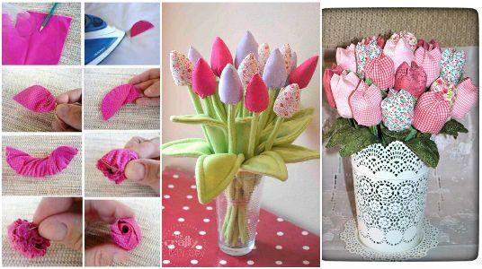 Paso a paso y moldes para elaborar tulipanes con tela for Manualidades con tela paso a paso
