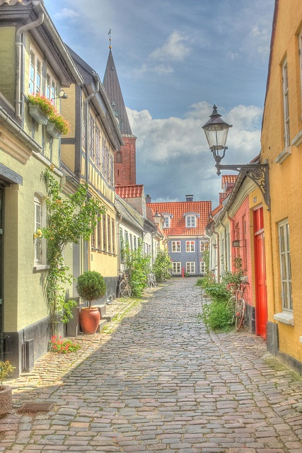 Hjelmerstald street - Aalborg. Just outside my front door.  Beautiful!