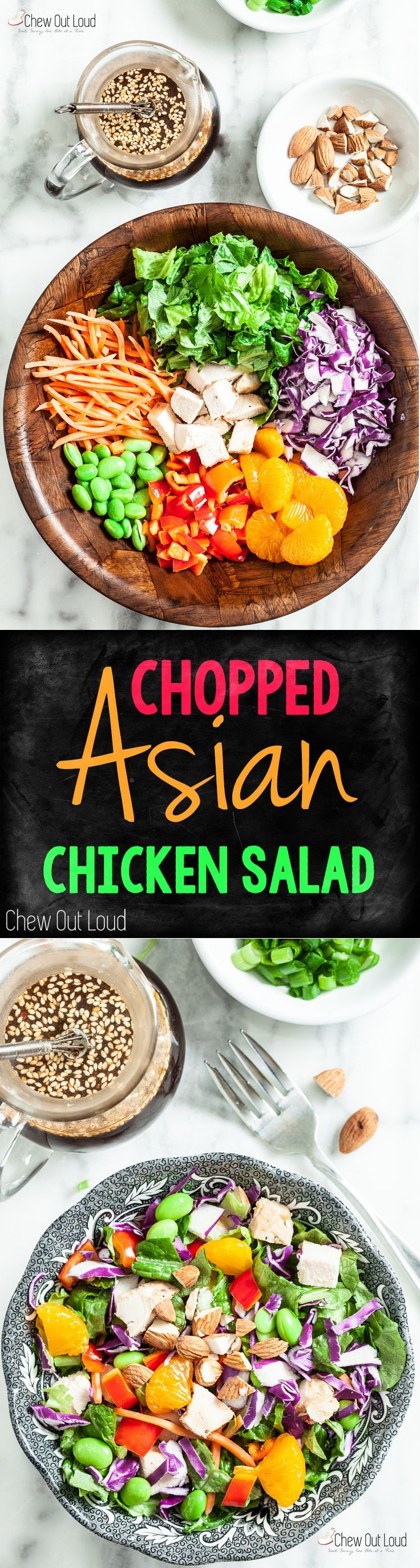 Chopped Asian Chicken Salad with Sesame Ginger Dressing. This Dressing is Amazing and goes well with everything.  #asian #chinese #chicken #salad