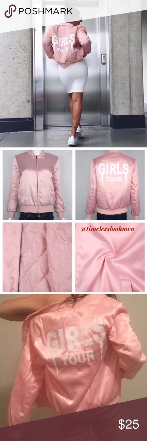 "Girls tour yeezy style pink satin bomber  jackets •brand new  •ships tomorrow •unbranded •no trades  •true to size   • super soft outside and warm quilted inside  Pink with with letters yeezus     Please visit ""Closet Rules"" for more info about us :) Jackets & Coats"