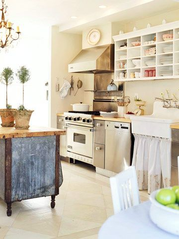 LOVE the island-farmhouse kitchen with lots of shelves