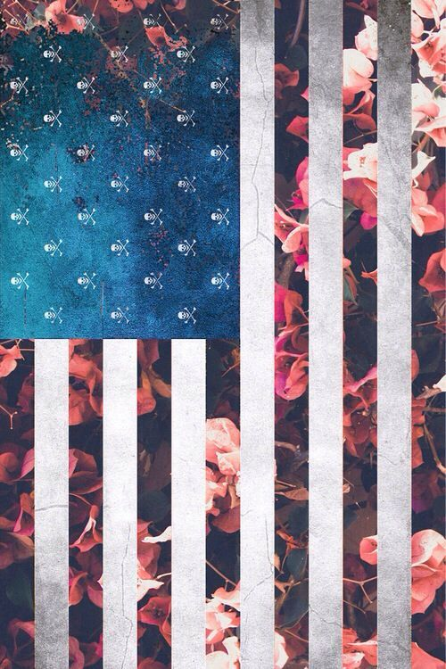 American flag with flowers layered background in the stripes. iPhone.
