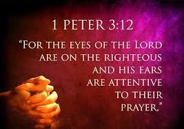 Image result for For the eyes of the Lord are on the righteous and his ears are attentive to their prayer, but the face of the Lord is against those who do evil. 1 Peter 3:12 (NIV)