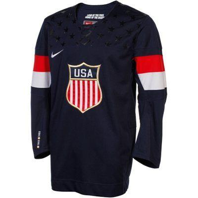 Nike USA Hockey Winter Olympic Replica Hockey Jersey - Navy Blue