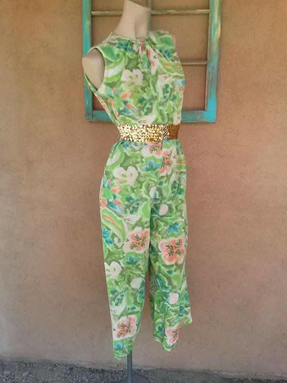 Vintage 1960s Jumpsuit Playsuit Watercolor Small by bycinbyhand