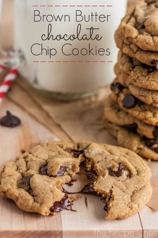 Brown Butter Chocolate Chip Cookies at http://therecipecritic.com Perfect chocolate chip cookies made with amazing brown butter. These are awesome! #cookie
