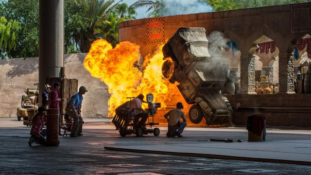 Cheer on Indy and Marion as they perform amazing stunts with blazing special effects to demonstrate movie-making magic.