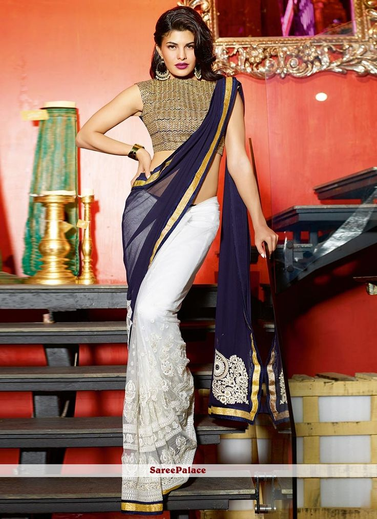 Jacqueline Fernandez Style Off White And Blue Shaded Half And Half Saree
