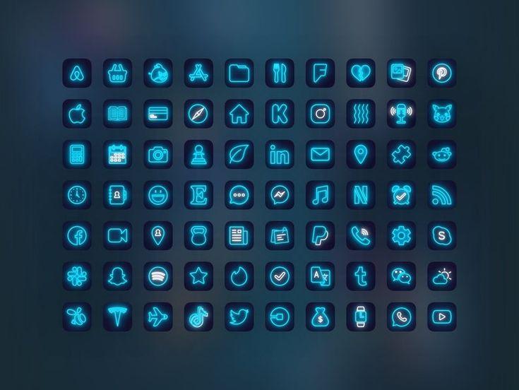 500 blue neon ios 14 app icon pack turquoise aqua neon