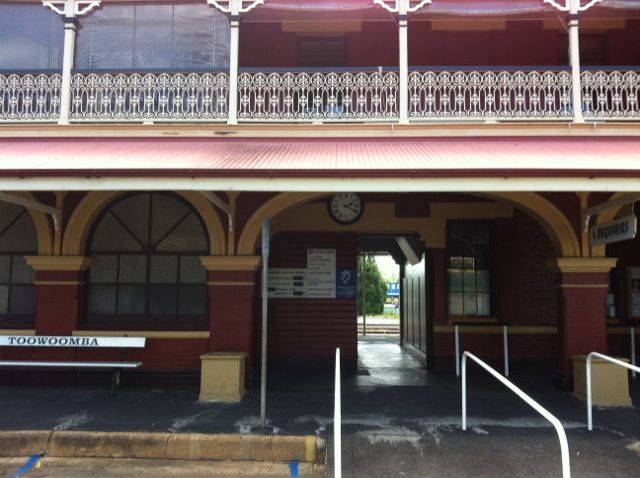 The platform from the rail side of Toowoomba's Railway Station