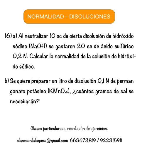 Ejercicio 16 propuesto de Normalidad. Disoluciones Químicas.