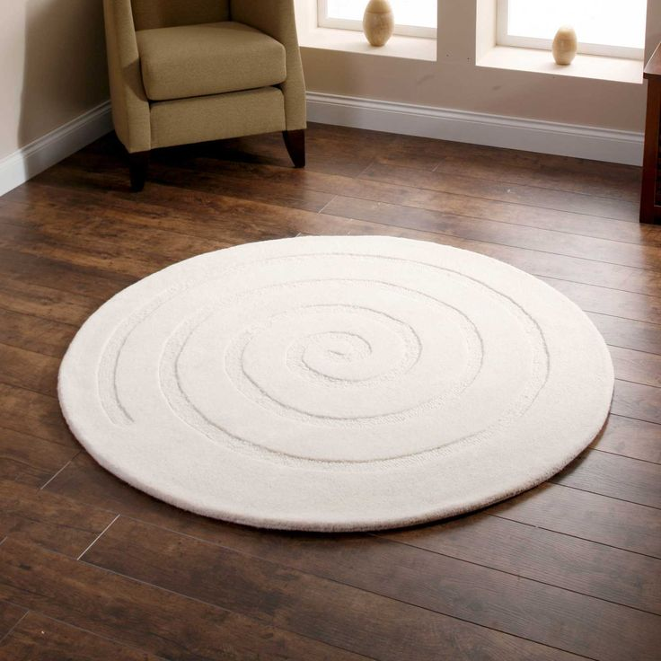 Spiral Circular Wool Rugs In Spiral Circular Wool Rugs In Ivory