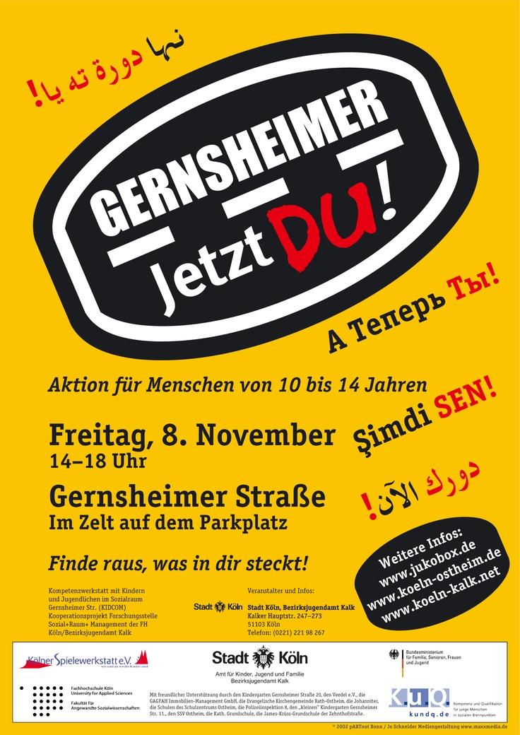 """Plakat aus dem Jahr 2002 für die Aktion """"Jetzt Du!"""" der Stadt Köln (Alle Drucksachen sind in Deutsch, Türkisch, Kurdisch, Russisch erschienen)"""