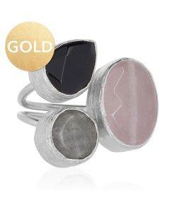 ring drie stenen zilver roze zwart