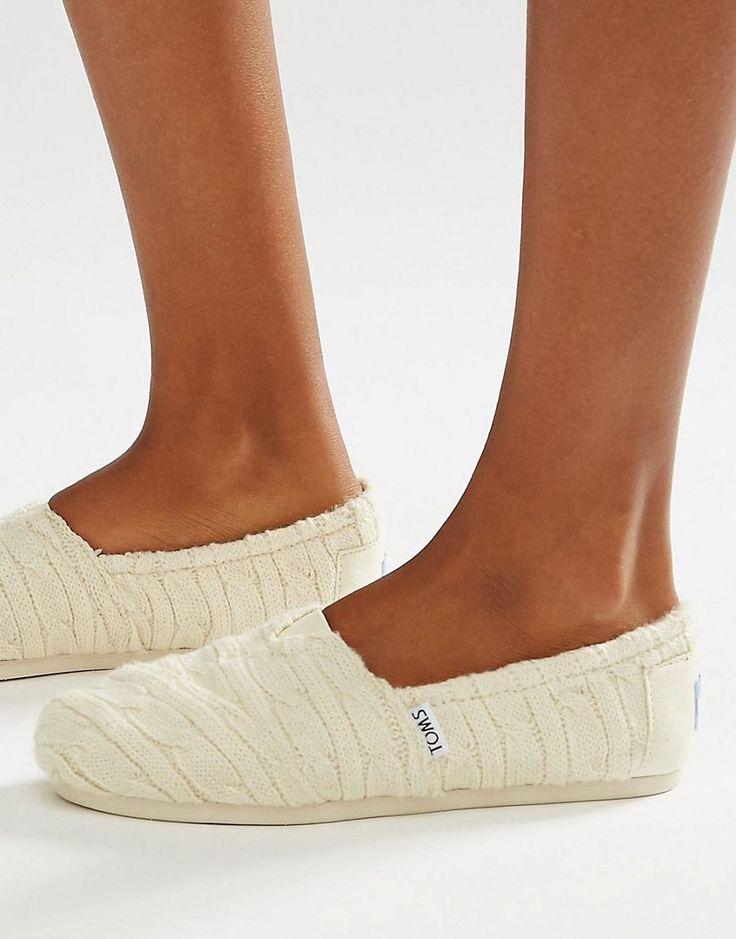 Bild 1 von TOMS – Natural – Flache Schuhe mit Zopfmuster und Kunstfell