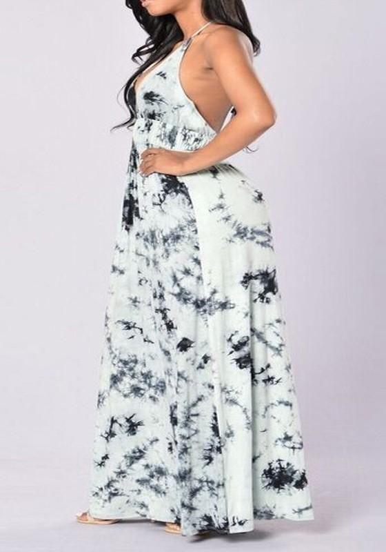 e872faa330e White Floral Print Tie Dye Halter Neck Tie Back Bohemian Maxi Dress ...