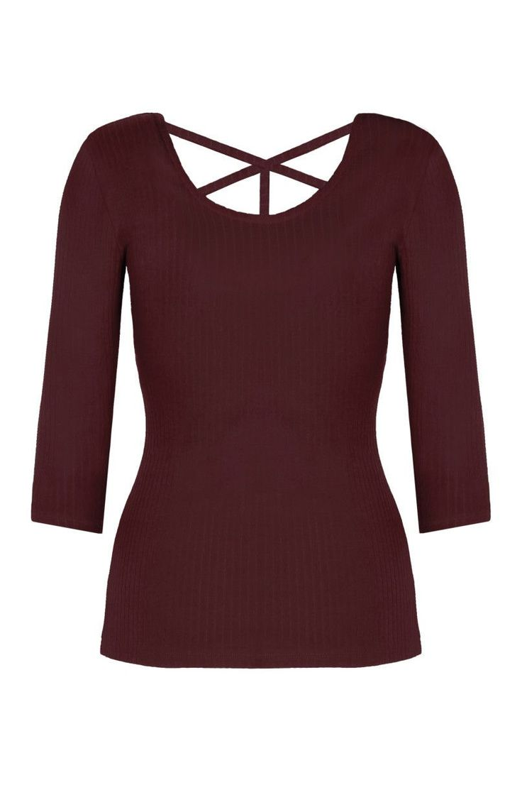 Burgundy 3/4 Sleeve Top